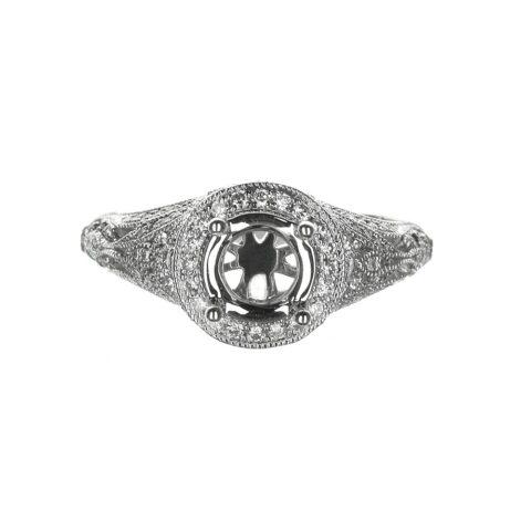 14 Karat White Gold Vintage Engagement Ring Round Halo