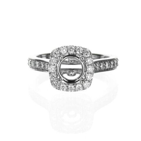 14 Karat White Gold Cushion Cut Engagement Ring