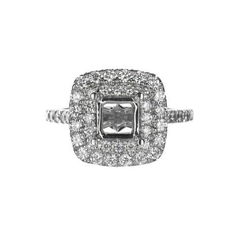 14 Karat White Gold Double Halo Diamond Engagement Ring