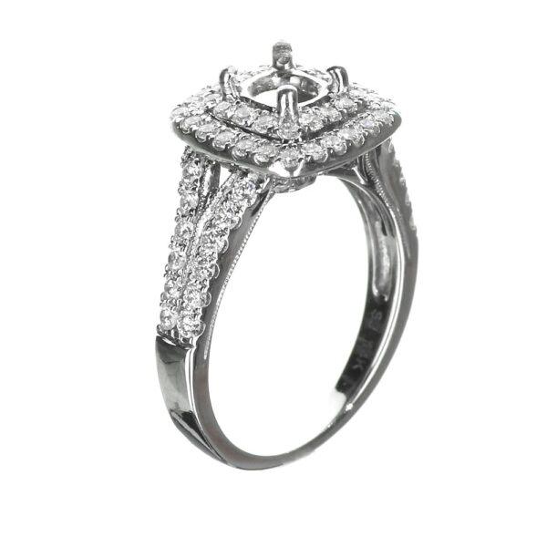 Cushion Cut Double Halo Engagement Ring Split Shank