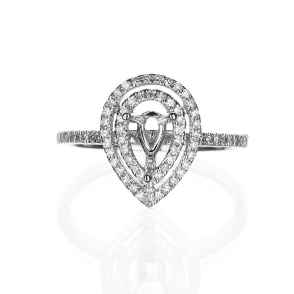 Double Halo Pear Shape Diamond Engagement Ring