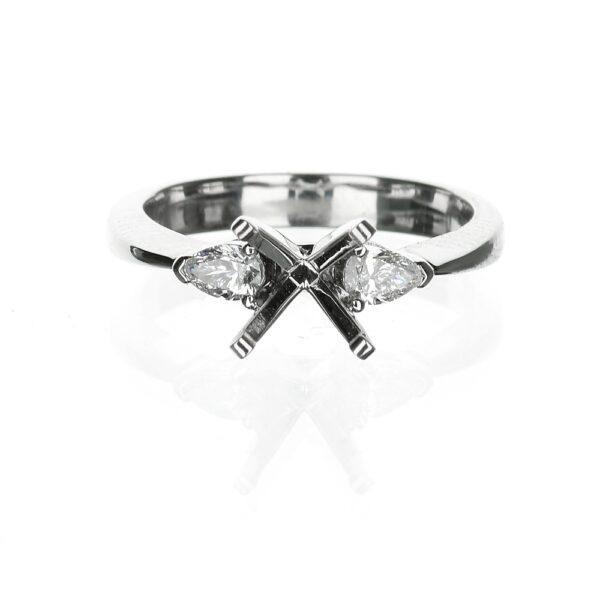 Pear Shape Three Stone Engagement Ring