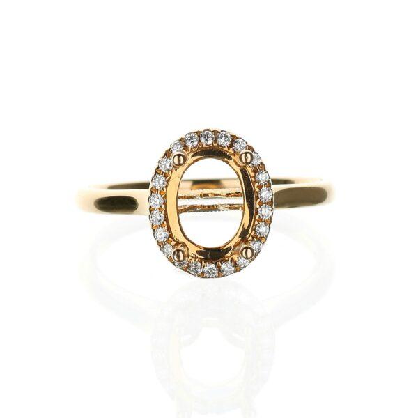 18 Karat Rose Gold Halo Engagement Ring
