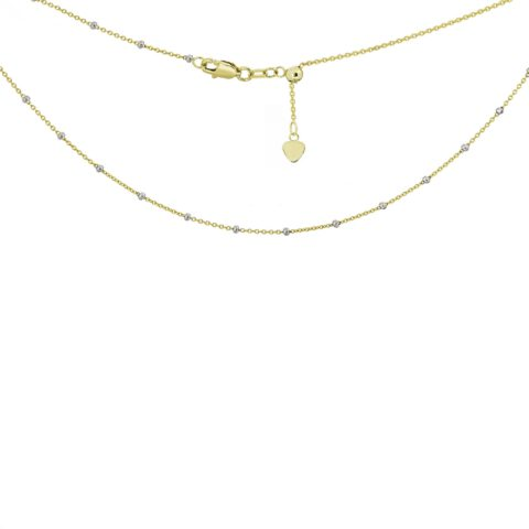 14 karat yellow and white gold choker necklace