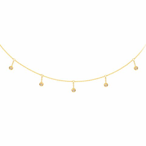 14 karat yellow gold diamond choker neckalce