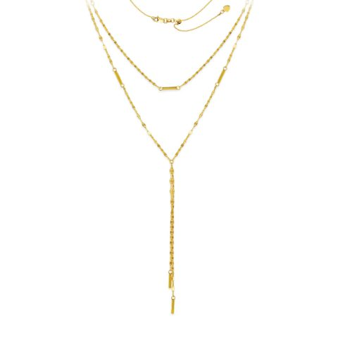 14 Karat Yellow Gold Layered Necklace Adjustable Chain
