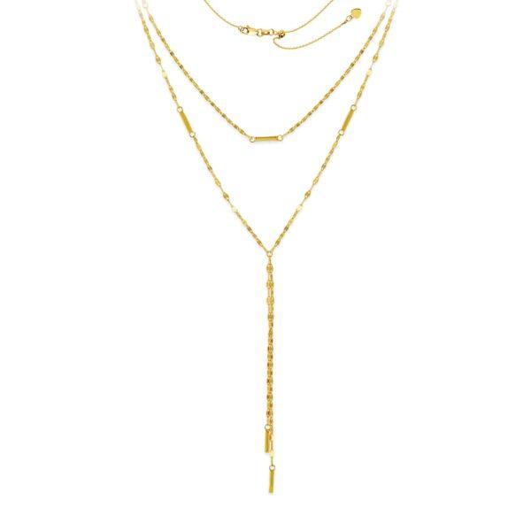 14 Karat Yellow Gold Layered Necklace Adjustable Chain