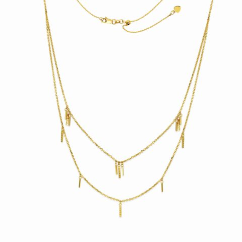 14 Karat Yellow gold Layered Choker Necklace with Gold drops