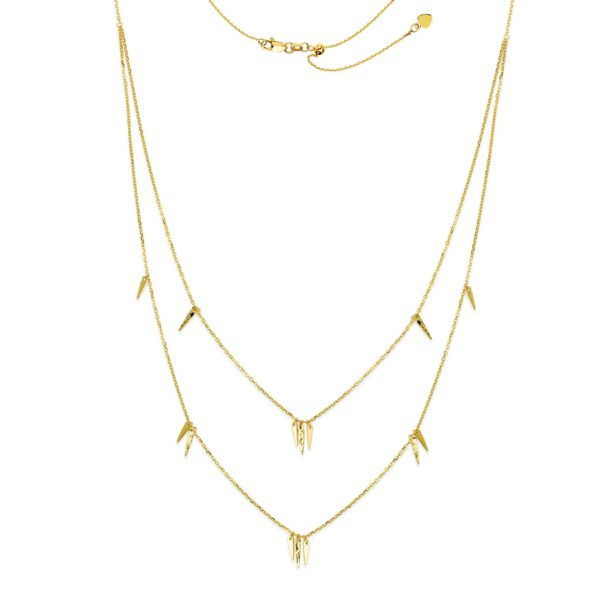 14 Karat Yellow Gold Layered Choker spikes