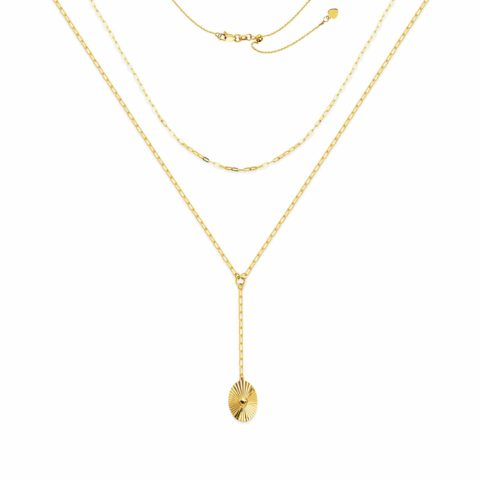 14 Karat Yellow Gold Layered Choker Sun Pendant
