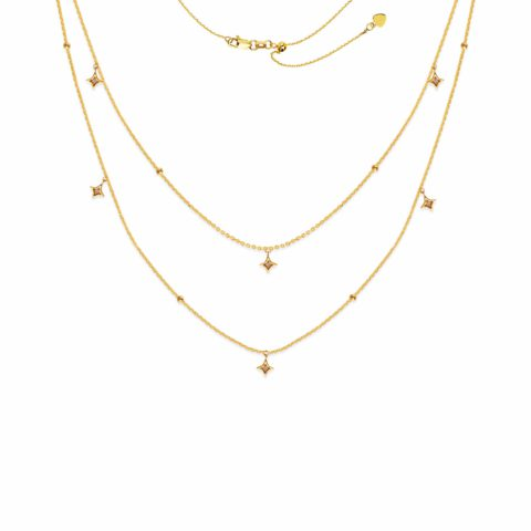 14 Karat Yellow Gold Layered Choker Necklace Star Pendants