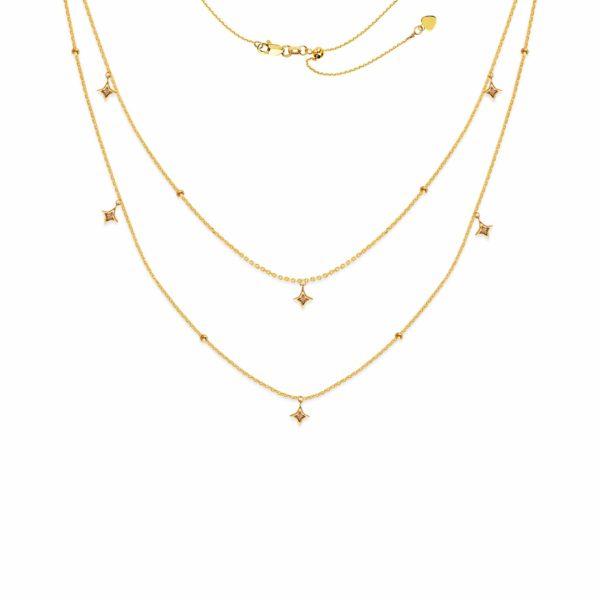 14 Karat Yellow Gold Layered Choker Necklace Star Pendants
