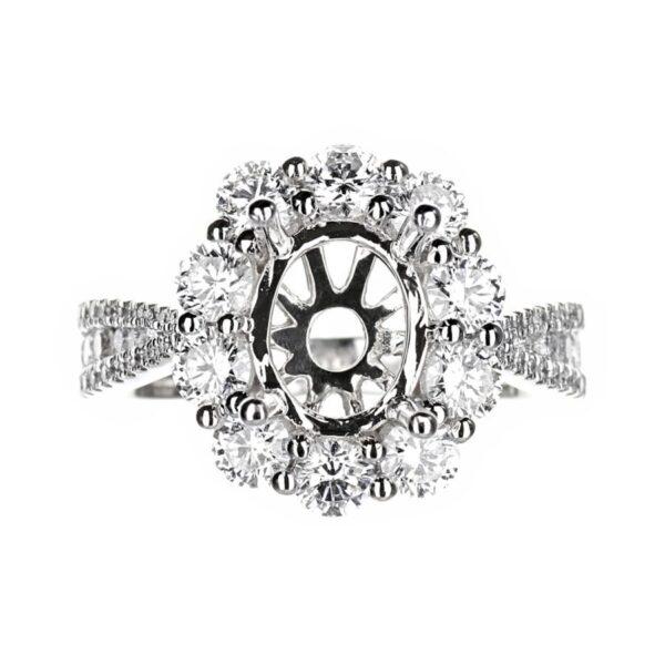 Large Diamond Oval Halo Engagement Ring
