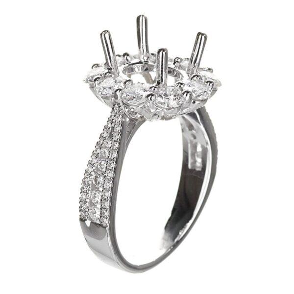 Large Diamond Oval Halo Engagement Ring White Gold