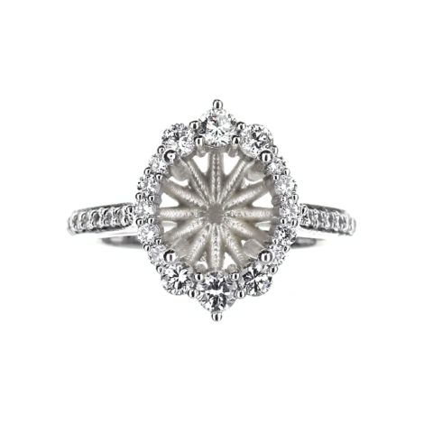 Vintage Inspired Round Halo Engagement Ring in 14 Karat White Gold