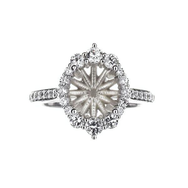 Vintage Inspired Round Halo Engagement Ring in 14 Karat White Gold