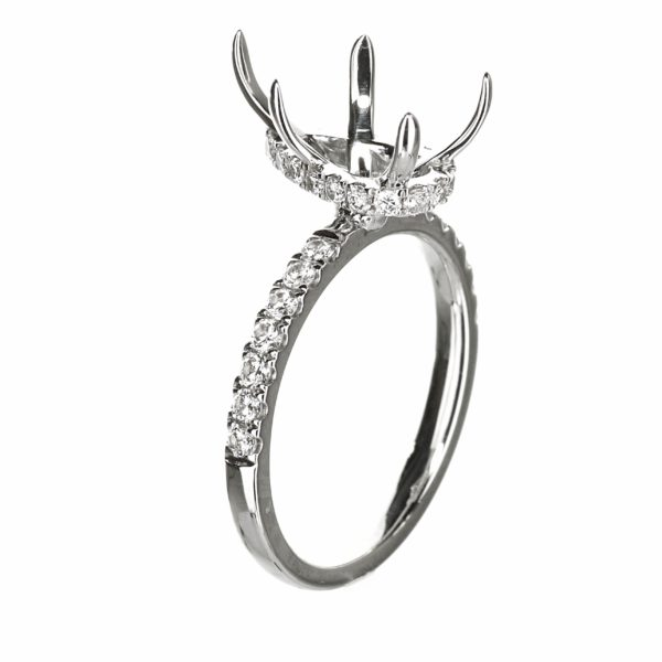 Solitaire Pear Shape Engagement Ring with Hidden Halo