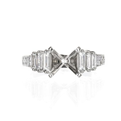 Solitaire Emerald Cut Engagement Ring 18 Karat White Gold
