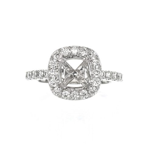Cushion Cut Halo Engagement Ring 18 karat White Gold
