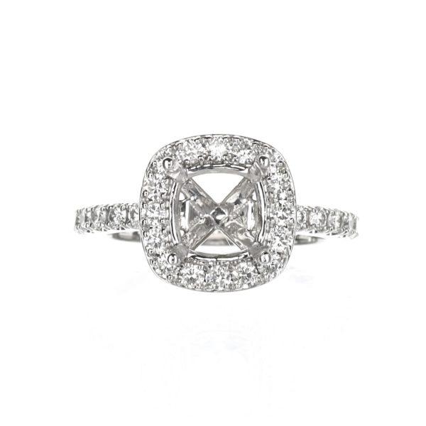 Cushion Cut Halo Engagement Ring 18 karat White Gold