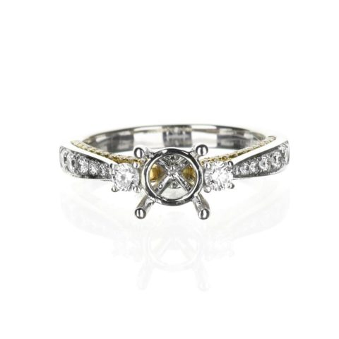 Three Stone Engagement Ring 14 Karat White and Yellow Gold