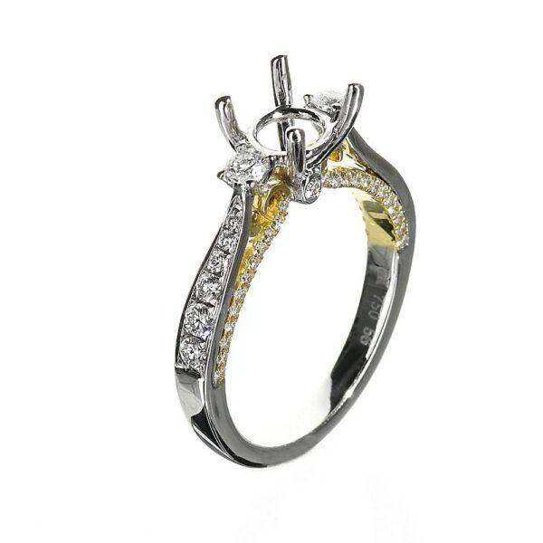 Three Stone Engagement Ring 14 Karat White and Yellow Gold