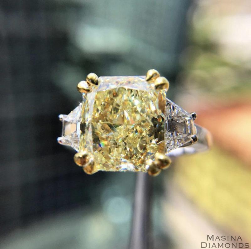 5 carat Yellow Diamond Cushion Cut