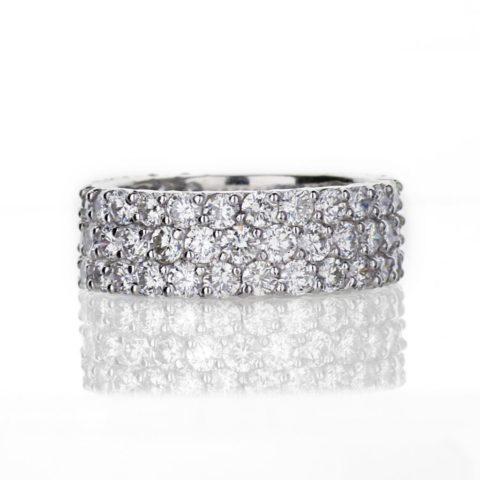three row diamond ring in white gold