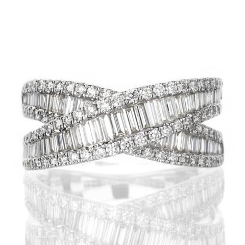 Baguette and Round Diamond Criss Cross Ring