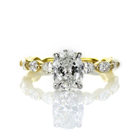 Oval diamond Engagement Ring with Oval Band