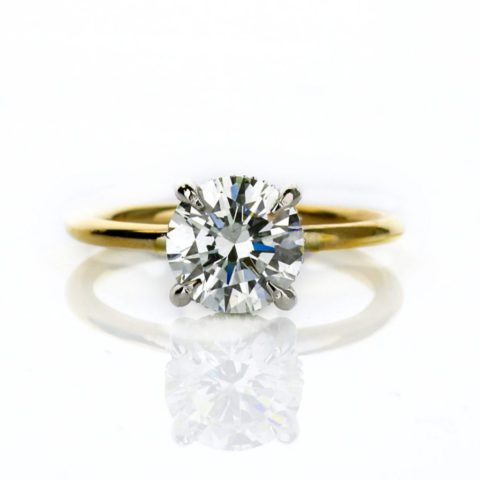 Round Diamond Engagement Ring with Hidden Halo