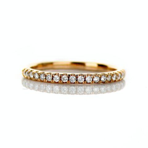 14 Karat Rose Gold Wedding Band with .18 carat of diamonds