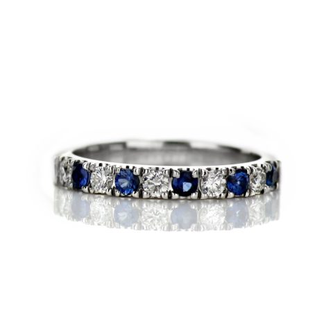 14 Karat White Gold Ladies Diamond and Sapphire Wedding Band
