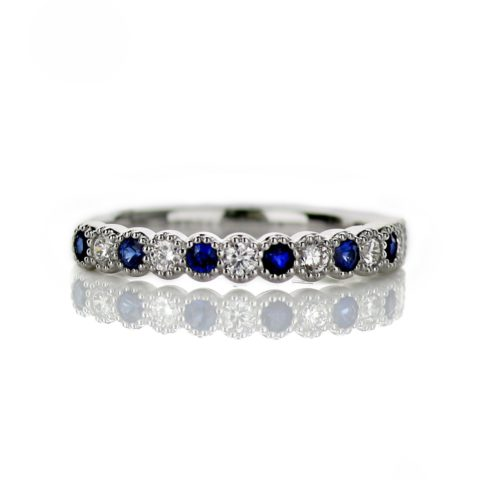 Ladies Diamond and Sapphire Wedding Band
