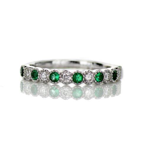 Ladies Diamond and Emerald Wedding Band