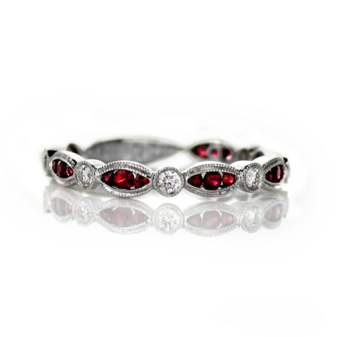 18 Karat White Gold Stackable Ladies Wedding Band with .39 carat of Rubies and .16 carat of Diamonds