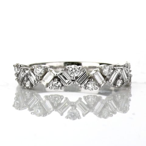 14 Karat White Gold Ladies Wedding Band with .68 carats of round and baguette Diamonds