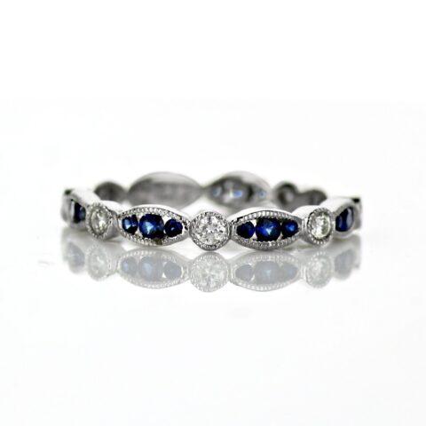 Ladies Vintage Style sapphire and diamond band