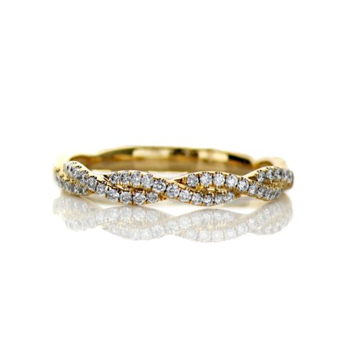 18 Karat Yellow Gold Ladies Braided Wedding Band with .21 carat of Diamonds