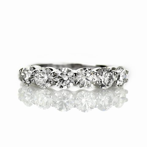 6 Stone Ladies Diamond Wedding Band in 14 Karat White Gold