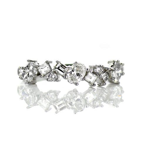 14 Karat White Gold Ladies Multi Shape Band with .45 carat of Diamonds