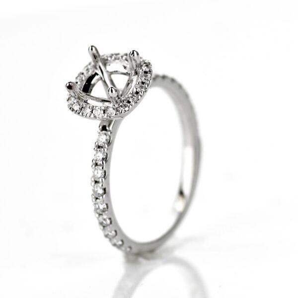 White Gold Cushion Halo Engagement Ring Setting