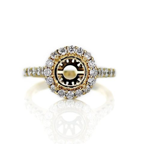 Yellow Gold Round Halo Engagement Ring