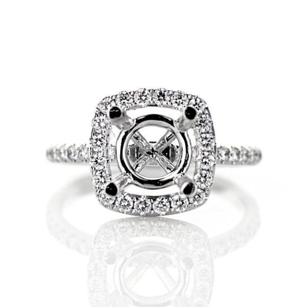 Dainty Cushion Halo Engagement Ring in White Gold