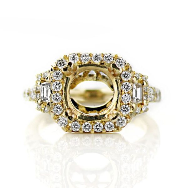 Three Stone Cushion Halo Engagement Ring