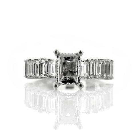 Diamond Accent Engagement Ring with Baguette Diamonds