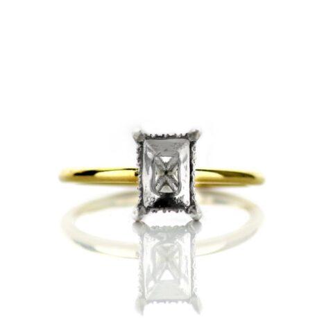 14 Karat Yellow Gold Solitaire Hidden Halo Engagement Ring