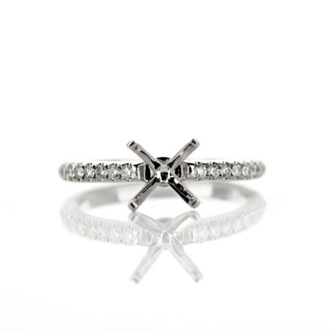 White Gold Solitaire Diamond Accent Engagement Ring