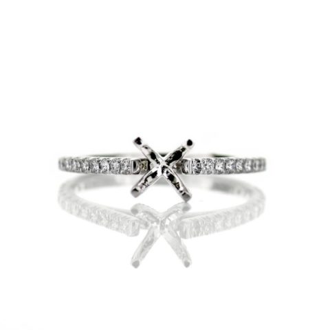 White Gold Cathedral Solitaire Engagement Ring