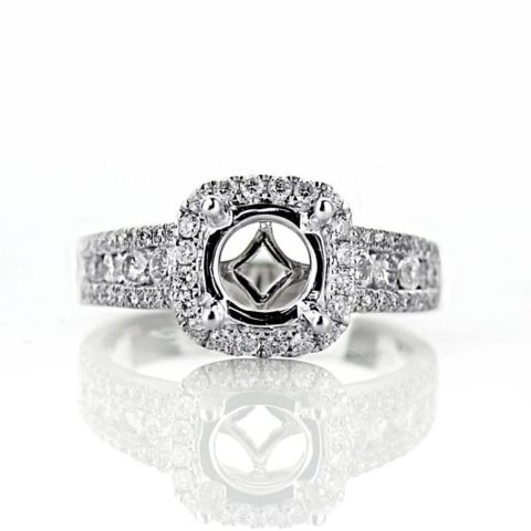Cushion Halo Engagement Ring with Wide Band